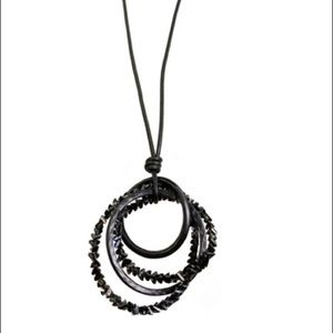 Jewelry - Sweet Lola Leather Necklace Gun Metal Black Beads